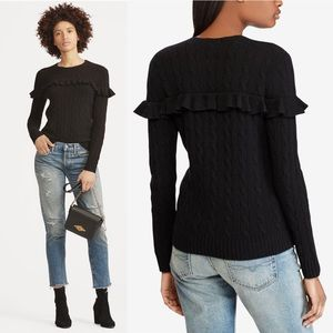 Ralph Lauren Black Ruffle Cashmere Wool Sweater